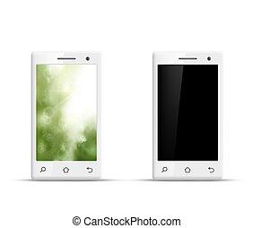 smartphone, vrijstaand, realistisch, vector, achtergrond, witte