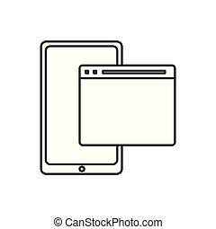 smartphone website on white background