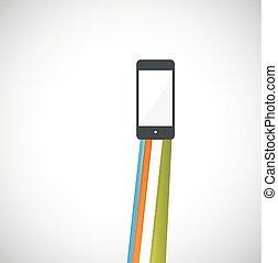 smartphone, wektor, ilustracja
