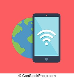 Smartphone, Wi-Fi icon, Earth globe