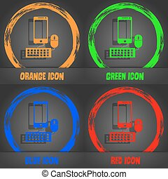 smartphone widescreen monitor, keyboard, mouse sign icon. Fashionable modern style. In the orange, green, blue, red design. Vector