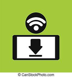 Smartphone wifi internet download icon