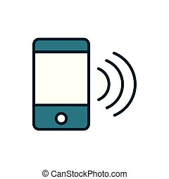 smartphone wifi signal internet of things line and fill icon