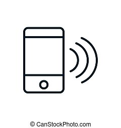 smartphone wifi signal internet of things line icon