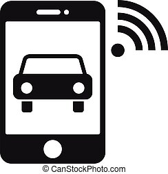 Smartphone wifi transport icon, simple style