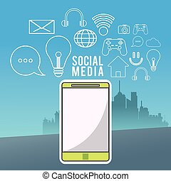 smartphone wireless technology communication social media city background