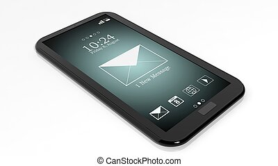 Smartphone with 1 new message notification on screen...
