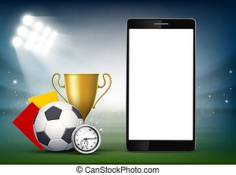 Smartphone with a blank white screen on the soccer field