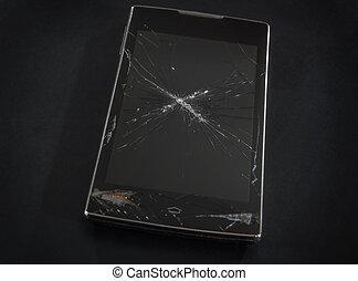 Smartphone with a broken cracked display
