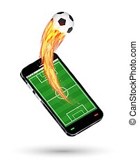smartphone with a football field and burning soccer football