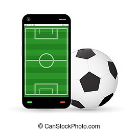 smartphone with a football field and soccer football
