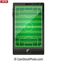 Smartphone with a football soccer field on the screen.
