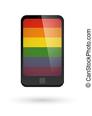 Smartphone with a gay pride flag