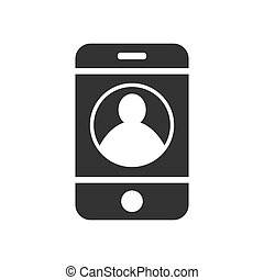 smartphone with a silhouette of a man. Simple design for the website and app logo