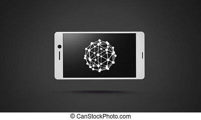 Smartphone with a sphere wire frame on its screen