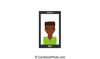 smartphone with afro american man on screen animation hd