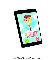 Smartphone with agent male avatar on the screen. Colorful cartoon vector Illustration