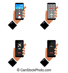 smartphone with airplane on it in hand set illustration