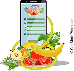 Smartphone with app of diet plan on screen and dietic fruits, vegetables, measuring tape beside it. Vector illustration.