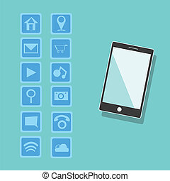 Smartphone with applications background, vector