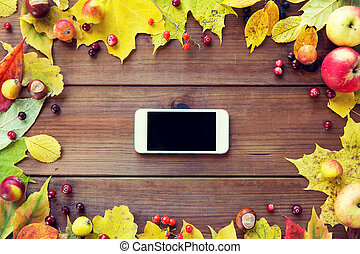 smartphone with autumn leaves, fruits and berries
