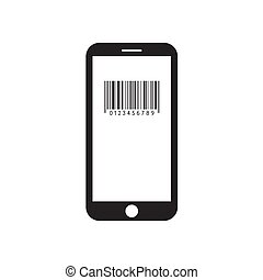 Smartphone with barcode icon on the screen.