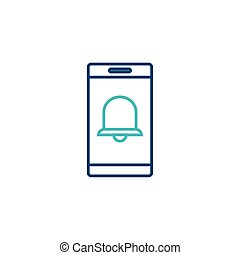 smartphone with bell line style icon