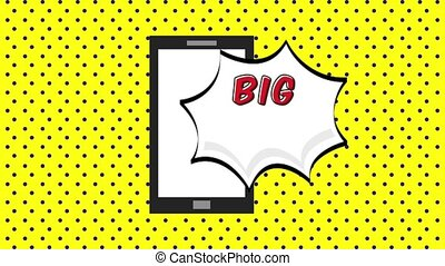 pop art animation - smartphone with big sale speech bubble...