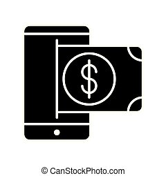 smartphone with bill money dollar