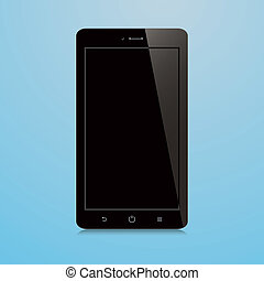 smartphone with black blank screen on blue background