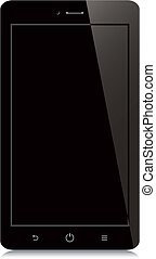 smartphone with black blank screen on white background