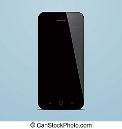 smartphone with black screen on blue background