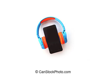 Smartphone with Blank Screen and Earphones Isolated on white background. Top view of Music and technology concept. Flat lay smartphone with headphone. copy space for creative design text and word