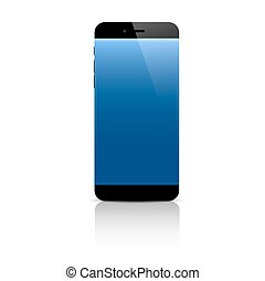 Smartphone with blank screen isolated on white background