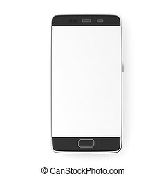 Smartphone with blank white screen isolated on white background, top view, copy space. 3d illustration