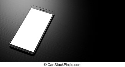 Smartphone with blank white screen on a black background, banner, copy space. 3d illustration