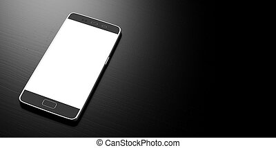 Smartphone with blank white screen on black background, copy space. 3d illustration