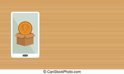 smartphone with box and bitcoin ecommerce animation