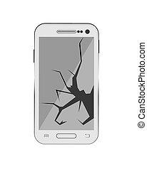 The smartphone screen is broken, faulty smartphone