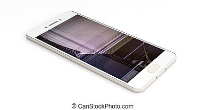 Smartphone with broken screen isolated on white background. 3d illustration