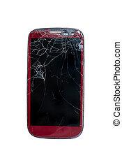 smartphone with broken screen isolated