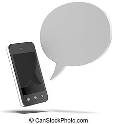 Smartphone  with bubble speech