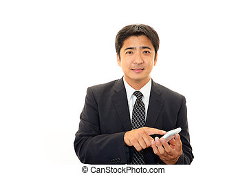 Smartphone with businessman