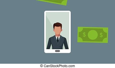 smartphone with businessman rain money animation