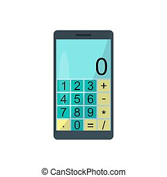 Smartphone with calculator on a white background. Vector illustration