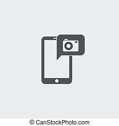 Smartphone with camera icon in a flat design in black color. Vector illustration eps10
