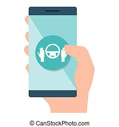 smartphone with car driver app