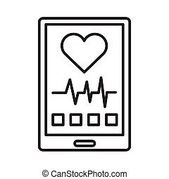 smartphone with cardiology app line style icon