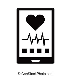 smartphone with cardiology app silhouette style icon