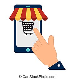smartphone with cart shopping